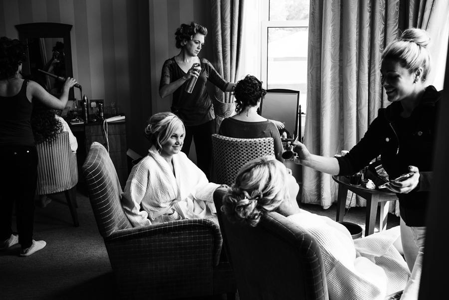Black & White image of bridal prep for a wedding in Tunbridge Wells
